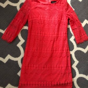 Knee length coral lace dress